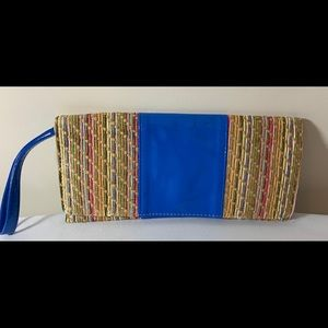 Blue Faux Leather and Woven Clutch